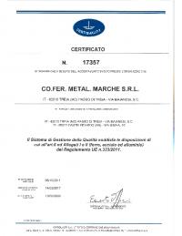 CERTIFICATO nr. 17357 – REG. UE 333 (SCAD. 13.03.2020)