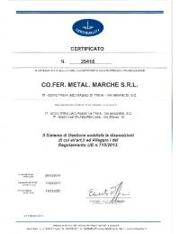 CERTIFICATO nr. 20415 – REG. UE 715 (SCAD. 13.03.2020)